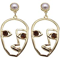 HOMYL Fancy Ladies Girl Jewellery Hollow Human Face Shape Statement Dangle Earring