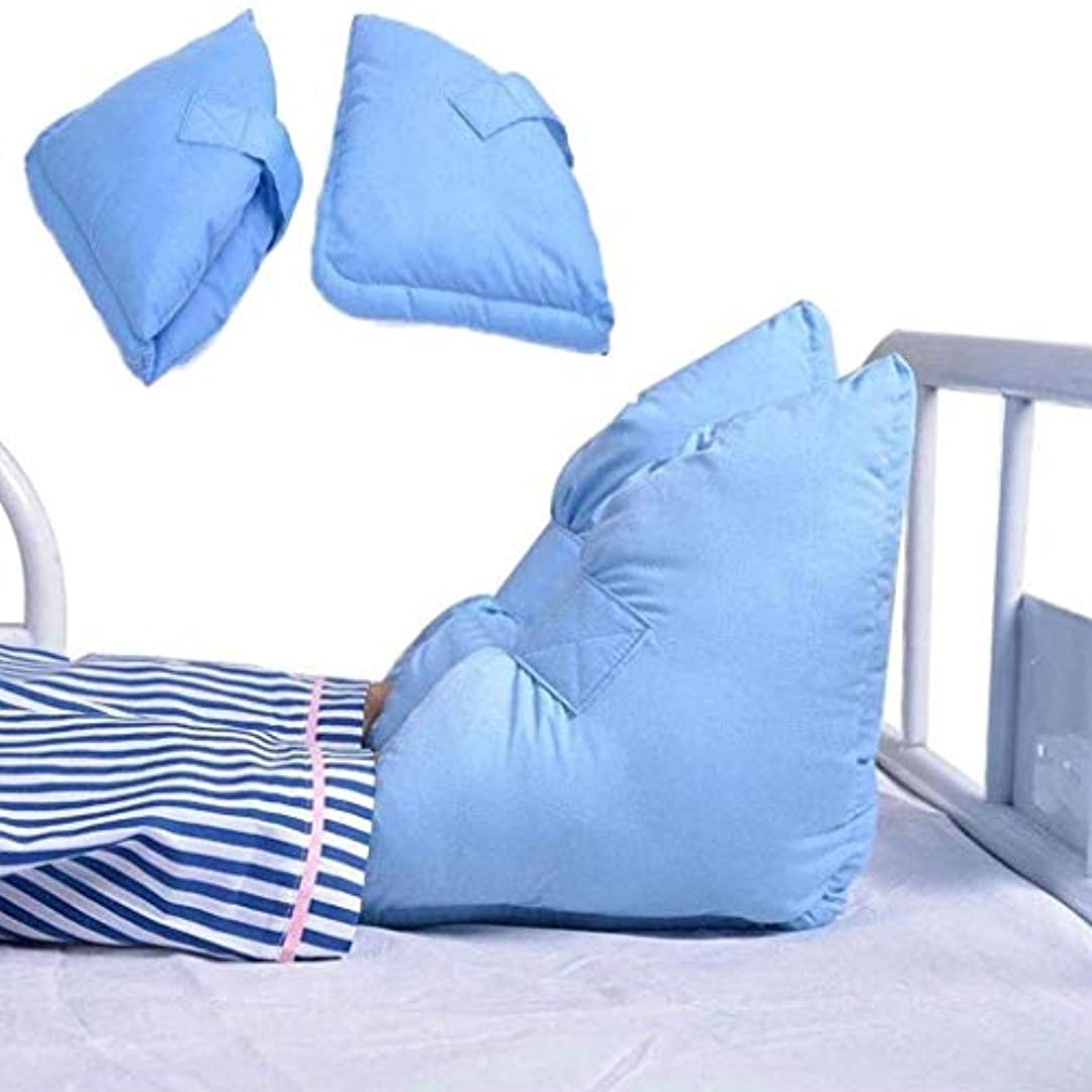 雹カフェ降臨TONGSH かかと足首足保護具、圧力緩和のためのポリエステル/綿カバー付き保護枕クッション、ワンサイズフィット、ほとんどの場合、ライトブルー、1ペア