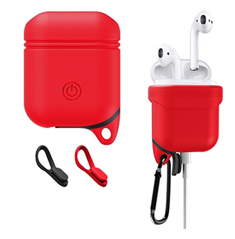 AirPodsケース JIUSHIWO シリコン 充電ケース 防塵 防水 衝撃吸収 持ち運びやすい Airpods イヤホン保護ケース ワイヤレスイヤホン用 ケース (レッド)