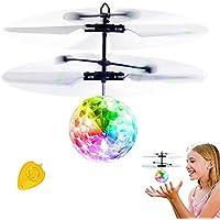 おもちゃ フライングボール JoyGeek Flying Ball 感応飛行器 RC ドローン 赤外線誘導 ヘリコプター LEDライト 簡単操作 初心者向け 小型 人気 室内 子供 プレゼント ホワイト