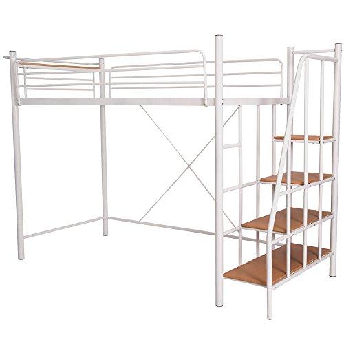 (OSJ)ロフトベッド 階段付き 宮付き システムベッド シングル ベッド 子供 一人暮らし フレームベッド パイプベッド ロフトベッド はしご 便利 新生活 (ホワイト)