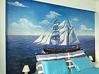 帆船 壁の壁画 - 屋内環境改善プロジェクト用の手塗りデザイン - 100平方メートル