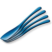 新潟燕産 アイス用アルミスプーン 4本セット (ブルー)