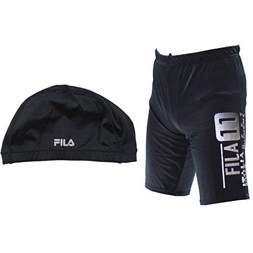 FILA(フィラ)フィットネス競泳水着メンズスパッツスイムキャップセットLOGO-Lブラック/シルバー(LL)