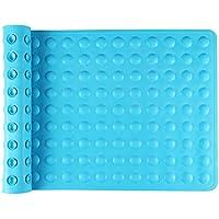 IRETION お風呂マット 浴槽 滑り止めマット 転倒防止 介護用品 痛くない 吸盤付き 40×70cm 天然ゴム製 (ブルー)