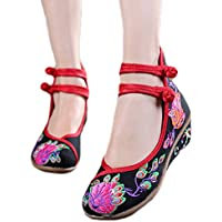 AvaCostume Women's Old Beijing Floral Embroidery Wedge Heel Flats Shoes