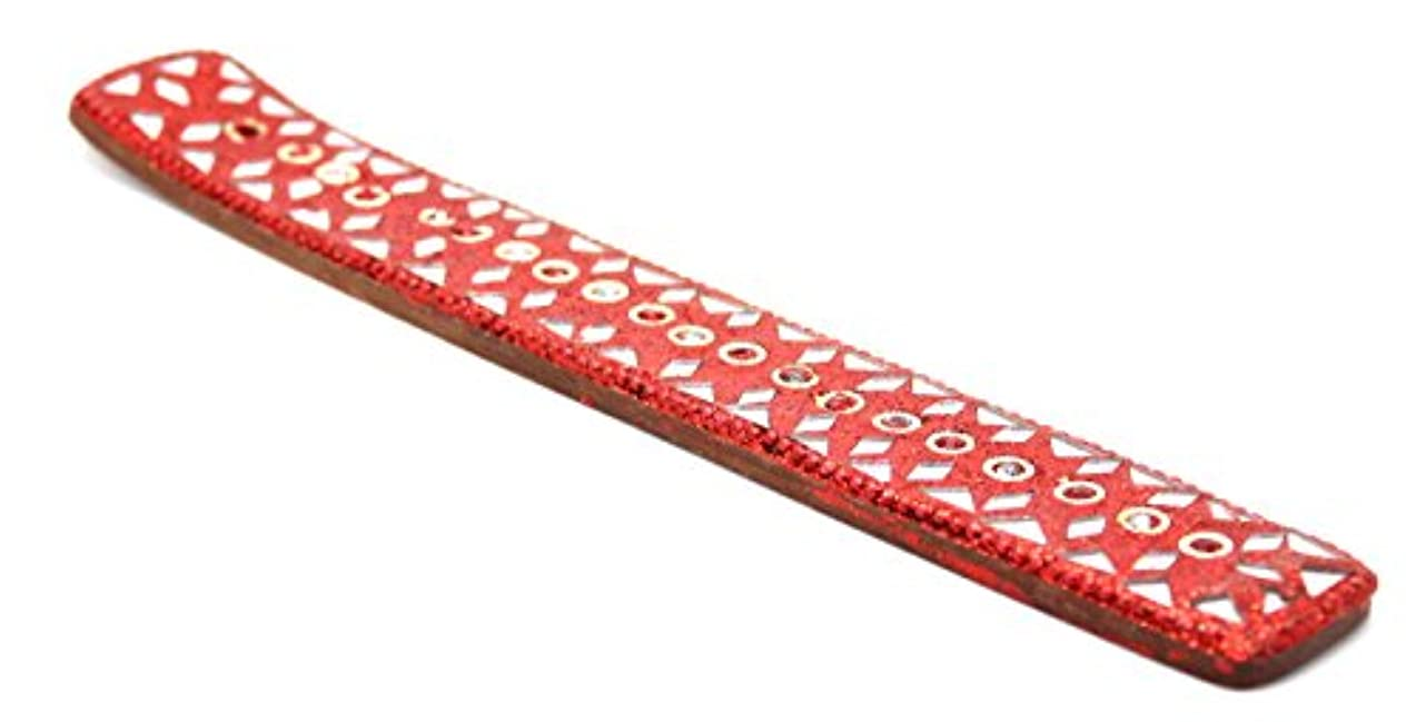 メッセンジャーシティ鋸歯状Govinda – Fancy Incense Holder with DecoratedガラスとGlitters – レッドデザイン – 10