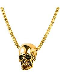 "U7 Men Silver Black Gothic Pendant Necklace Black Gun/18K Gold Plated Stainless Steel Chain Pendant, 22"""