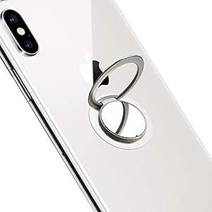 スマホリング Oumino 携帯 リング 超薄型(1.8mm) バンカーリング スマホ スタンド ホルダー iPhone リング 指りんぐ マグネット式車載ホルダー対応 落下防止 360回転 iPhone/Android各種他対応 (シルバー)