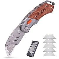 カッターナイフ Tacklife UKW03 SK-5材 折り畳み 銃刀法合格 6本ブレード 切れ味良い 硬質木製ハンドル 2年保証