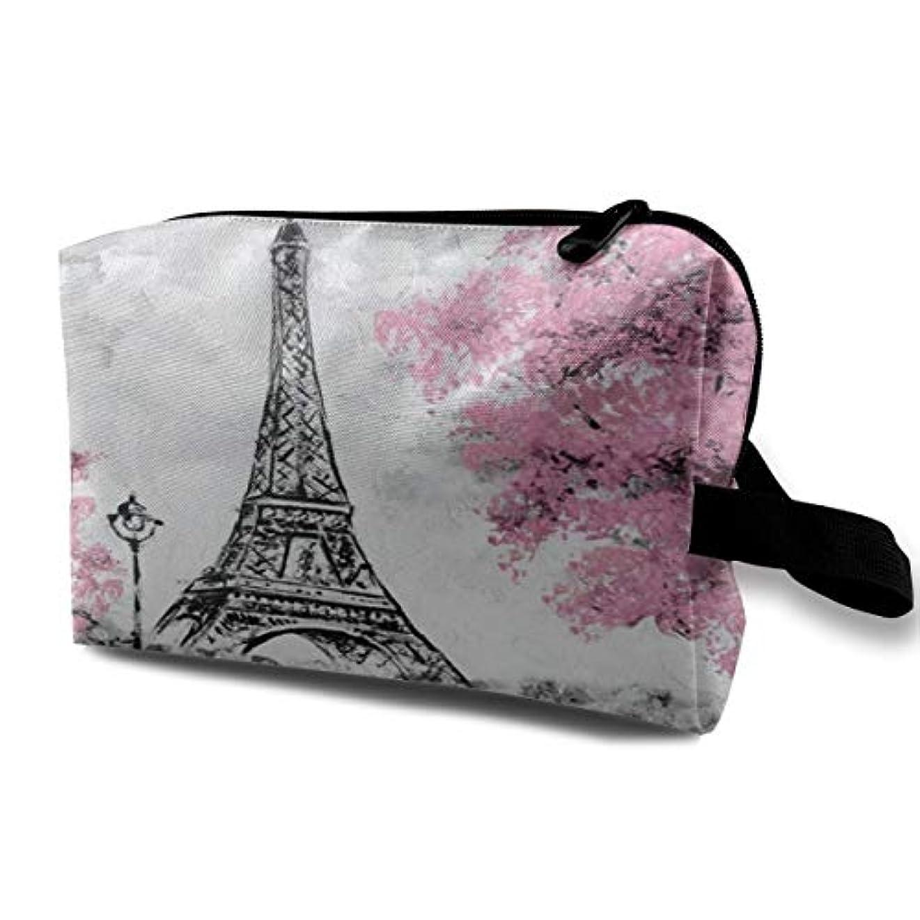 代表学ぶお香Art Watercolor Paris Eiffel Tower 収納ポーチ 化粧ポーチ 大容量 軽量 耐久性 ハンドル付持ち運び便利。入れ 自宅?出張?旅行?アウトドア撮影などに対応。メンズ レディース トラベルグッズ