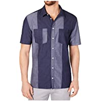 DKNY Men's Regular-Fit Colorblocked Patchwork Shirt