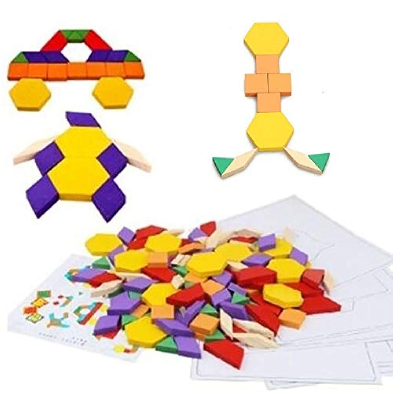 60ピースカラフルな木製キッズジグソーパズルブロックおもちゃ教育子供ギフト