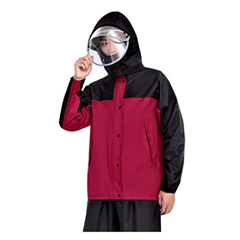 やさしい陪審延期するJTWJ レインコートセットマスク防水二重レインコートレインパンツ、防水ポータブルレインコート、ポリエステル繊維、キャンプ/雨などに適しています。 (色 : Red/black, サイズ さいず : M)