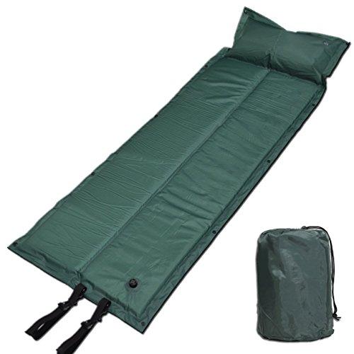 Winhi エアーマット 自動膨張式 キャンピングマット エアピロー 防水 コンパクト 連結可能 収納 車中泊 高反発 寝具 テント 紫 緑 迷彩 (緑)