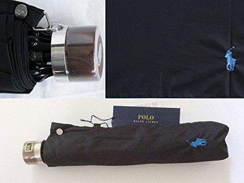 ポロ ラルフローレン メンズ 折りたたみ傘 ブラック/水色 ロゴ刺繍 トラッド ウッドハンドル 65cm