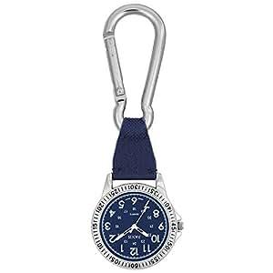 時計 カラビナ付き ポケットウォッチ 懐中時計 SCP37 (ブルー)