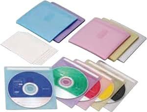 ロアス タイトル付不織布CD&/DVDケース(55枚入) 白・黄・ピンク・パープル・青、各色11枚 DVD-A004-055MIX