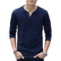 【 Smaids×Smile 】 Vネック メンズ ヘンリー ボタン デザイン Tシャツ カットソー 長袖 無地 安