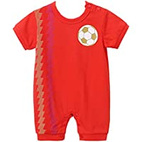 05731b86850b ALLAIBB Short Sleeve Romper Football Print Jumpsuit Pajamas for Baby Boys  and Girls