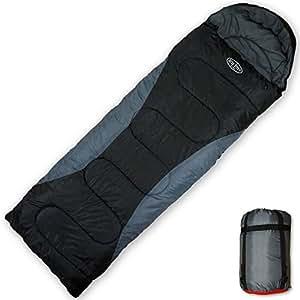 寝袋 シュラフ 封筒型 ブラック 丸洗いできる寝袋【最低使用温度-5度】スリーピングバッグ キャンプ アウトドア 冬用 軽量