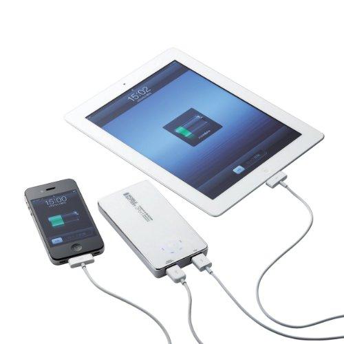 ELECOM iPhone・スマートフォン各種対応 モバイルバッテリー リチウムイオン電池 2ポート 同時給電可能 3050mAh・3A ホワイト DE-D12L-2230WH