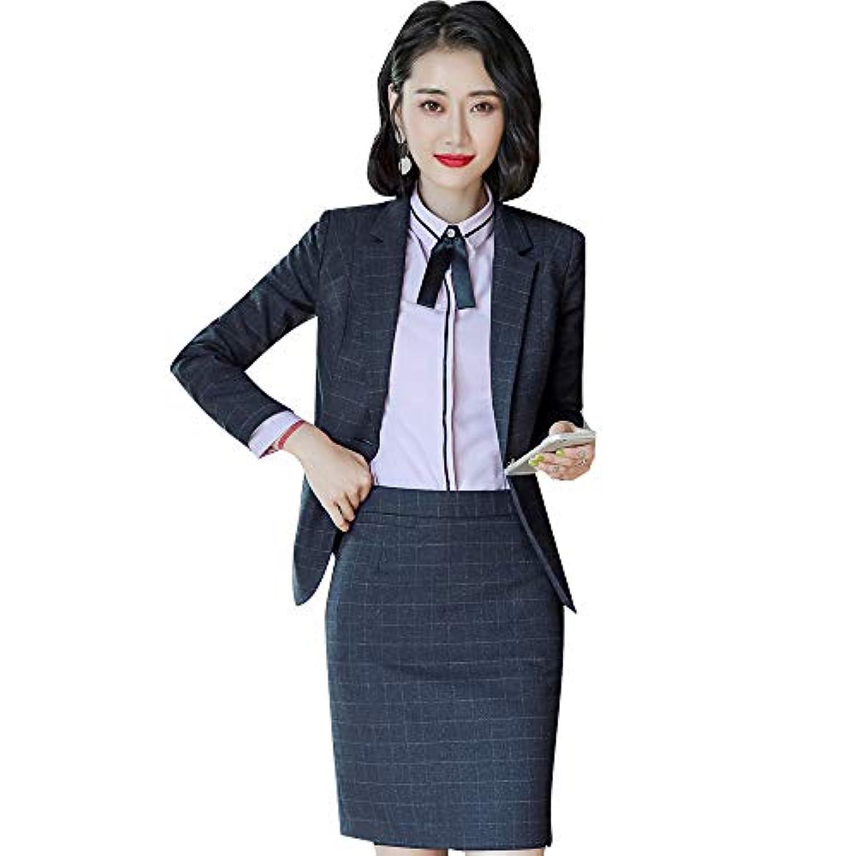 チェックスーツジャケットレデイースビジネス服OL出勤服入学卒業式スーツセット大きいサイズ(赤/ブルー/黒S-4XL)