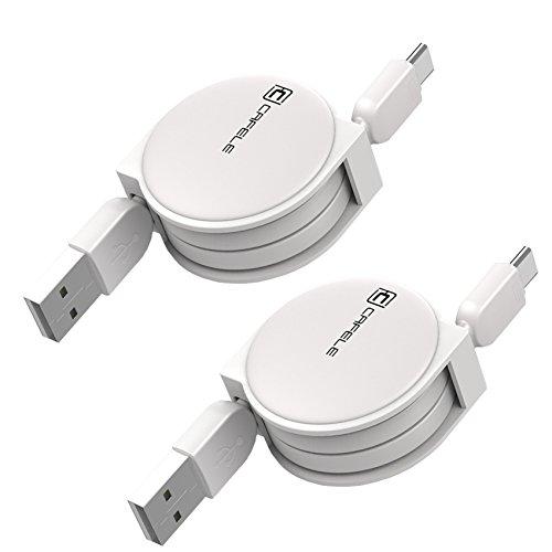巻き取り式ケーブル TypeC USBC 急速充電 データ通信 高耐久 高品質 A RFM(1m, ホワイト2個お得セット)