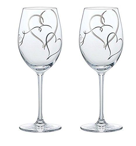 東洋佐々木ガラス ワイングラス ペア ベネディーレ ハート柄 食洗機対応 シルバー 355ml 2個セット G453-S100