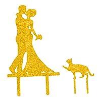 uxcell ケーキケーキトッパー 新郎新婦 結婚式 アクリル装飾 プレゼント ゴールドトーン 2個組み