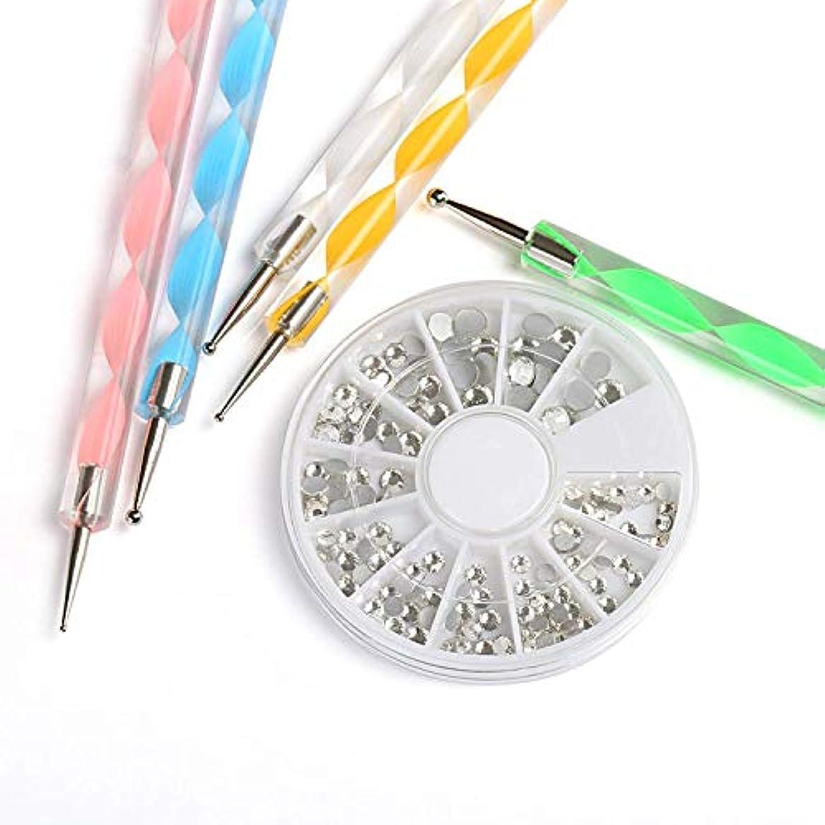 雇用薄暗い週間NALER ネイルデザイン ドッティングラインストーンネイルアートドットペン ドット棒 5本