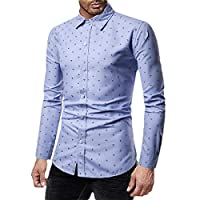 Romancly Men's Long Sleeve Relaxed-Fit Slim-Fit Buttoned Floral Print Shirt Sky Blue XL