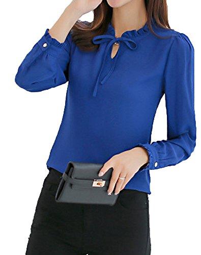 b11e069ba4ce8 レディース ブラウス 長袖 リボン シフォン フォーマル フリル きれいめ ブラウス 4色 上 トップス ファッション (