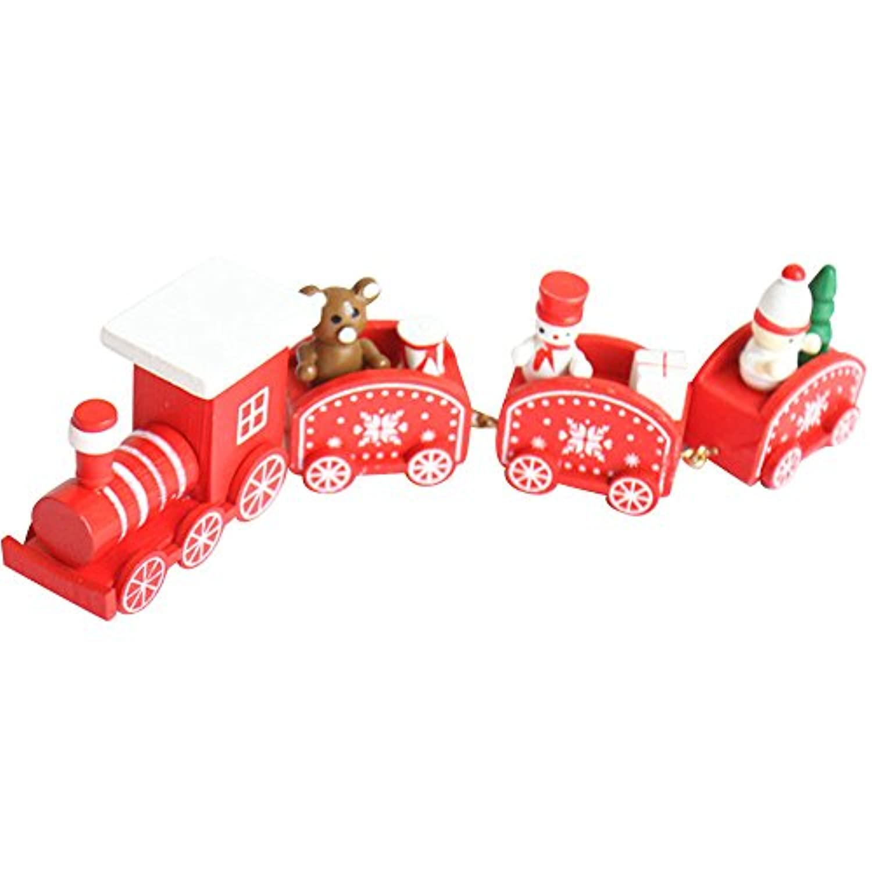 教育玩具、baomabao 4ピース木製クリスマストレイン装飾装飾ギフトステージセット