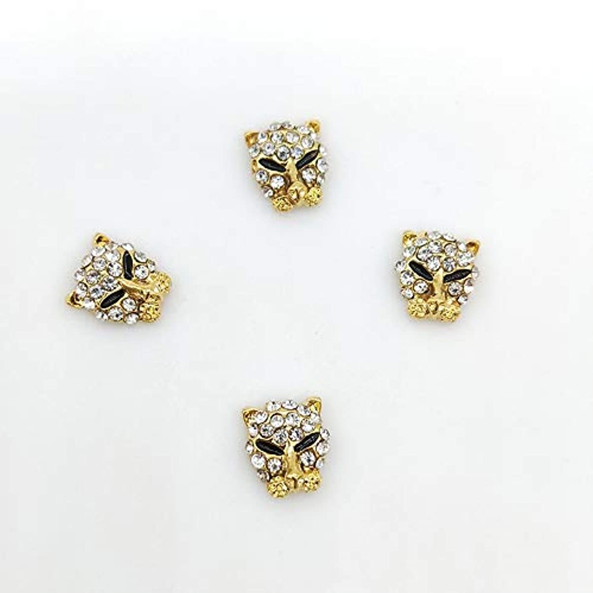 彼の教えて民主党10 PCS /バッグクリアラインストーンの釘のジュエリーLeopardの形状ネイルアートの装飾宝石の3D合金ネイルダイヤモンドDIYマニキュア