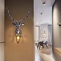 Xwyun アメリカ 樹脂製 鹿のヘッド ウォールランプ、現代 居間 寝室 TVの背景の壁 装飾的な壁ランプ、創造的な角ランプ LED 壁掛け照明 ウォーターチェストガラス製 壁面ライト (B-73*50CM)
