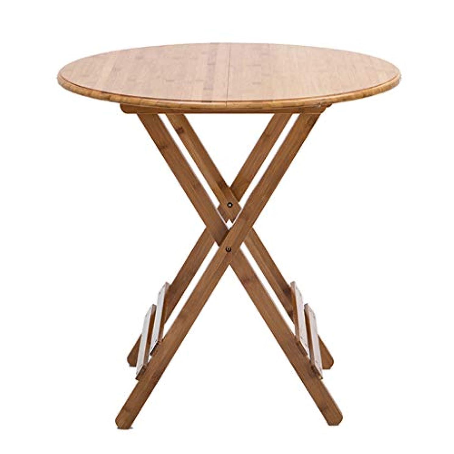 FRF 折りたたみ式テーブル- 家庭用木製折りたたみ丸テーブル、ダイニングルーム小さなアパートポータブルダイニングテーブル (色 : Original bamboo, サイズ さいず : 60x50cm)