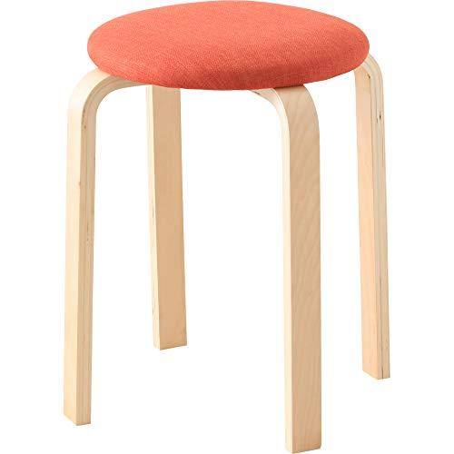 アイリスプラザ 椅子 木製 スツール オレンジ ファブリック スタッキング 積み重ね収納 座面直径約32×高さ約45cm SL-02F