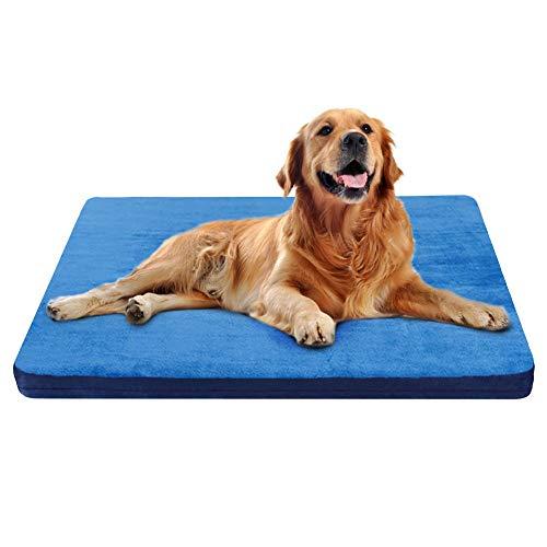 JoicyCo ペットマット 犬ベッド クッション性抜群 足腰・関節にやさしい カバーだけ洗う 型崩れしない 滑り止め 通年使える 100*85*5cm(ブルー L)