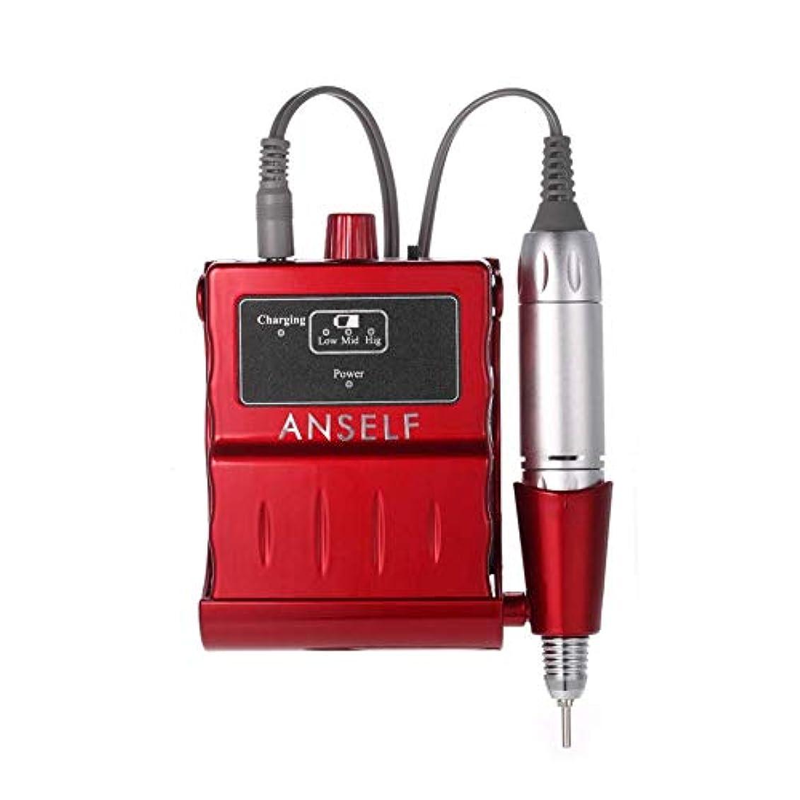スクリーチパフ乱れ30000 rpm電動ネイルドリルマシン充電式アクリルマニキュアネイルドリルビットペディキュア&マニキュアキット、赤