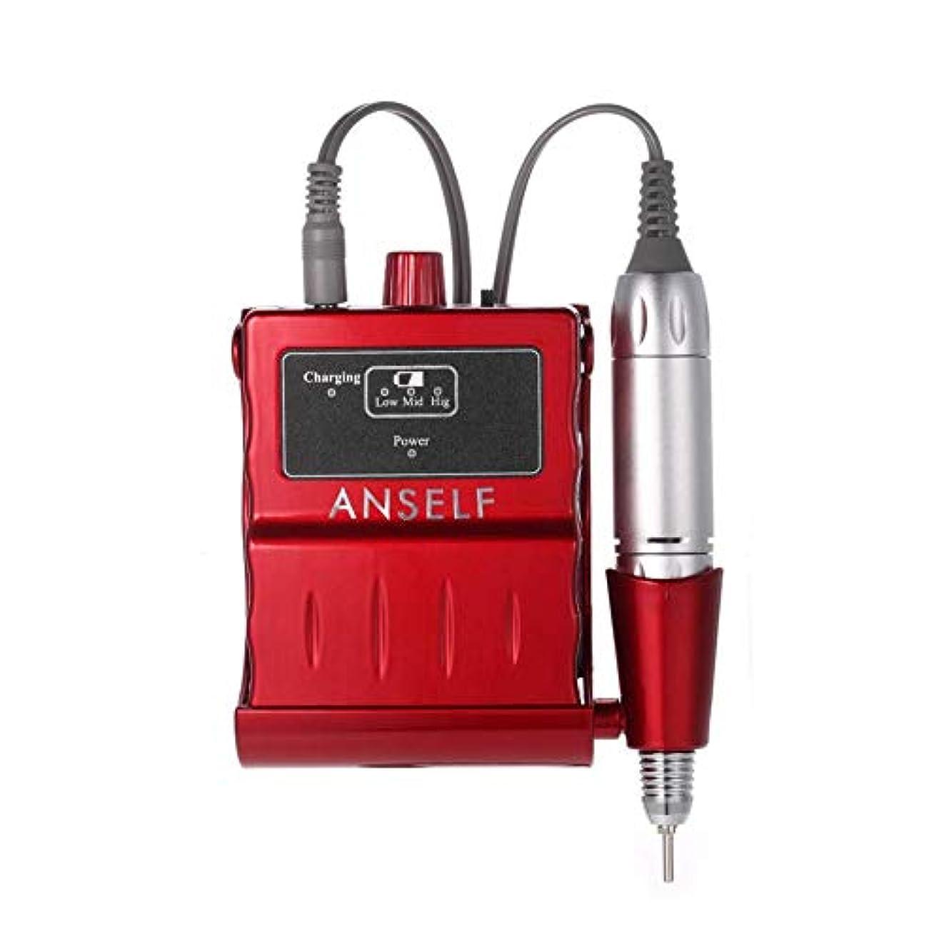 製造業宿信頼性30000 rpm電動ネイルドリルマシン充電式アクリルマニキュアネイルドリルビットペディキュア&マニキュアキット、赤