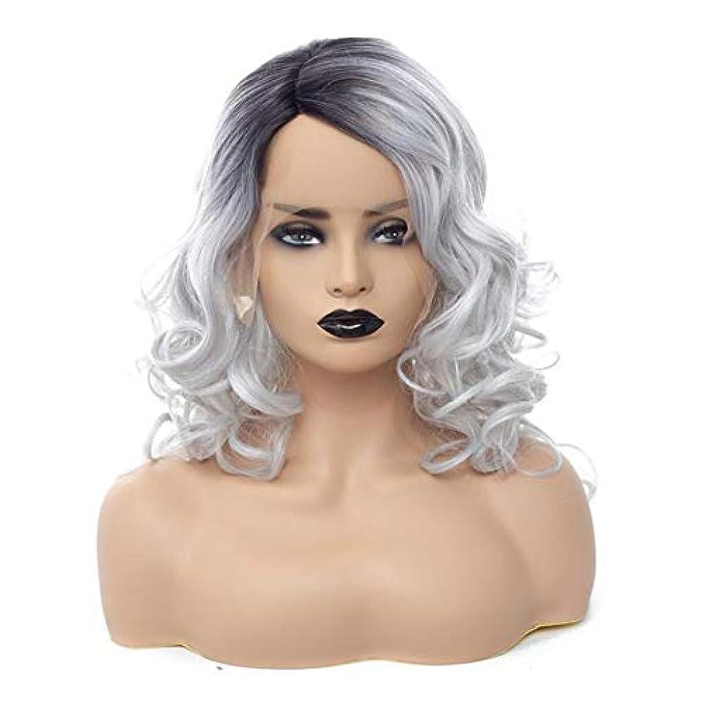 実験をする砂利シンポジウムYOUQIU 21「」ショート波状カーリーグレーオンブル女性の女の子の魅力的な合成かつらコスプレハロウィンウィッグ耐熱ボブ?パーティーウィッグウィッグ (色 : Blonde Grey, サイズ : 21