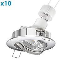 Parlat LEDは天井スポットライトCIRCクロムマット旋回GU10 5,8 W 320 lmホワイト、10個
