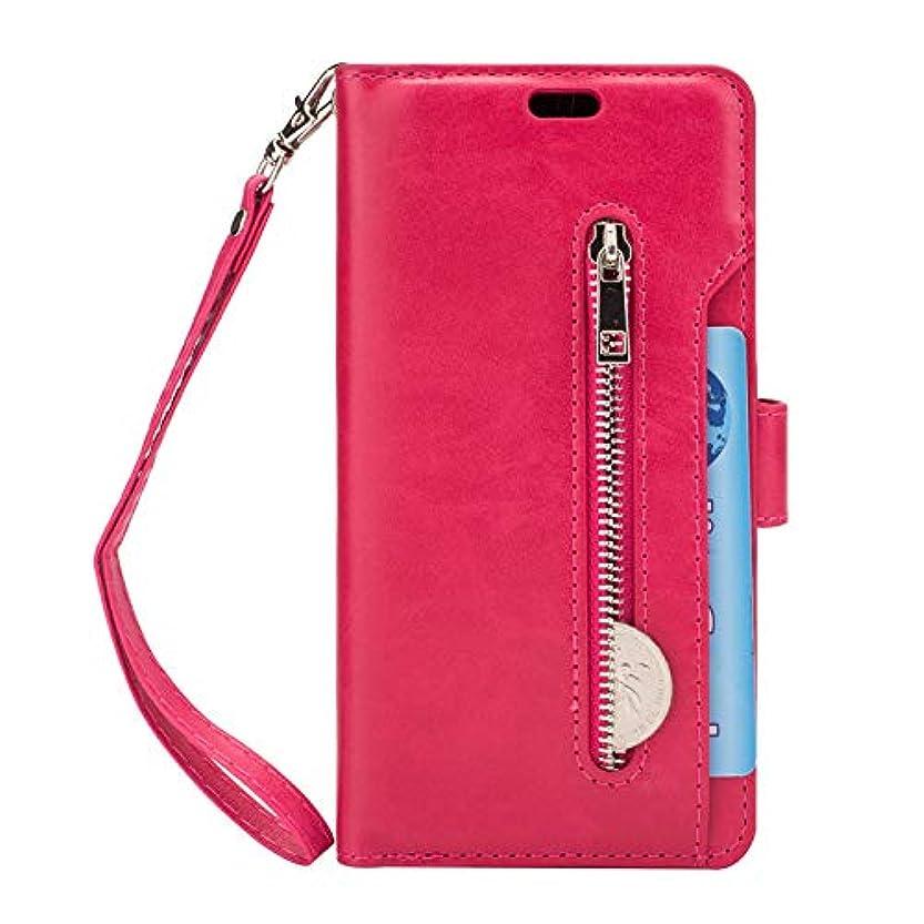 細心のモルヒネ上陸ケース Galaxy S9 手帳型、SIMPLE DO 分離可能 カード収納 スタンド機能 二つ折り 軽量 持ち運び便利 耐衝撃 レディース 女子 人気 おしゃれ 通勤(ホットピンク)