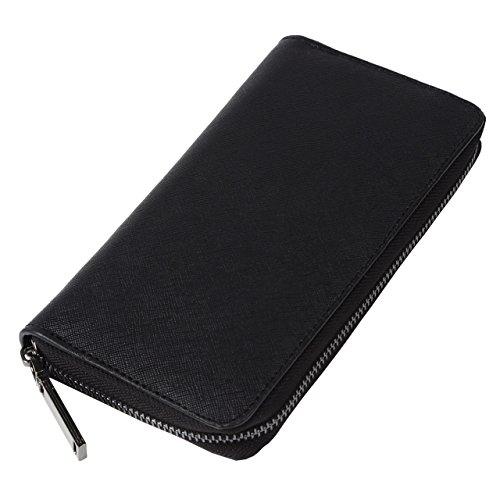 [ライフエッジ] 長財布 メンズ ラウンドファスナー 本革(エンボス加工)財布 取り出しやすい 小銭入れ付き バイカラー (ブラック×ブラック(ファスナー:ブラック))