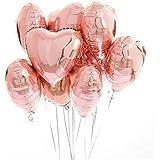 10 Pcsアルミ風船ハートバルーンセット飾りつけ演出で盛大にお祝い 誕生日 パーティー バルーンピンク