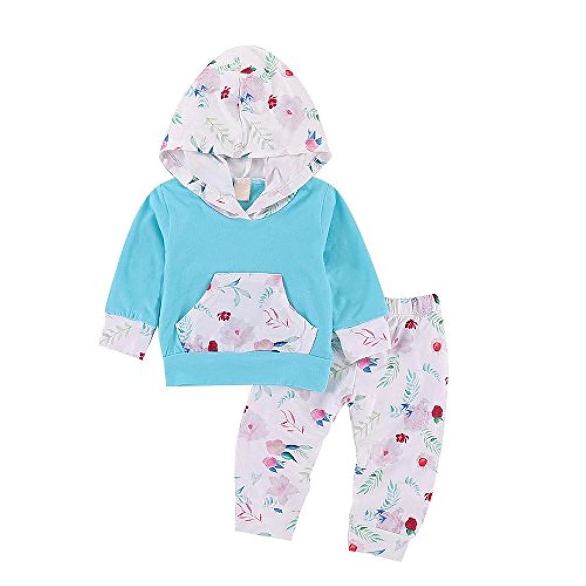 BHKK 子供 幼児少年少女少女の長袖フラワーパーカーズトップスとパンツのコスチューム 6ヶ月 - 24ヶ月 24ヶ月