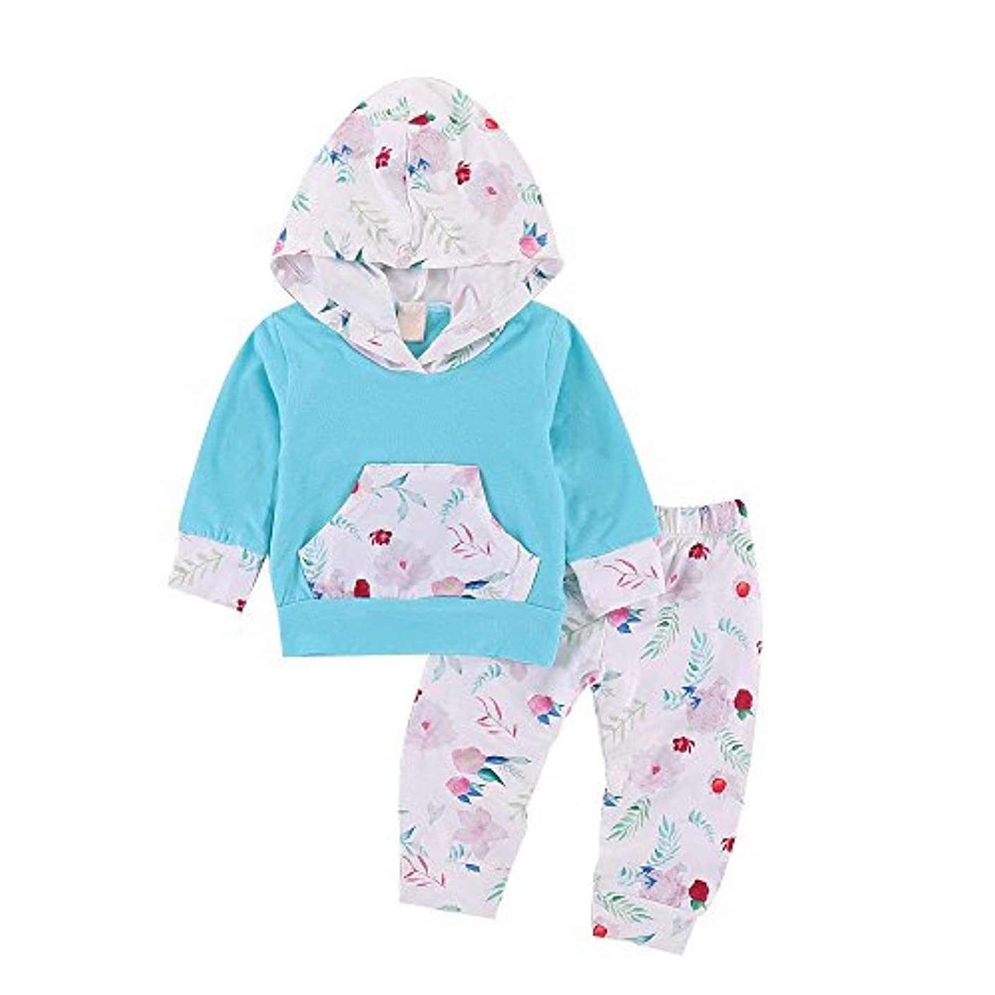 株式会社廊下男らしいBHKK 子供 幼児少年少女少女の長袖フラワーパーカーズトップスとパンツのコスチューム 6ヶ月 - 24ヶ月 24ヶ月