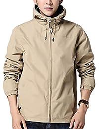 gawaga メンズカジュアルライトフルジップ屋外ウインドパーカージャケットコート
