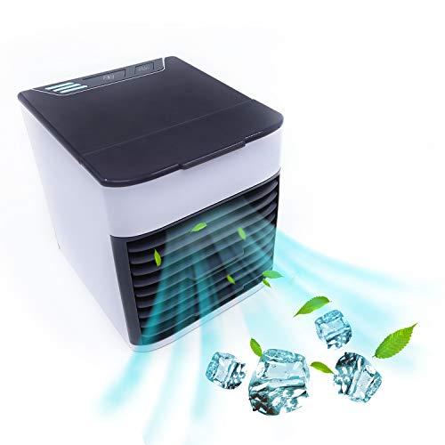 冷風機 KUSAMA 2019年改良版 ミニ 扇風機 usbクーラー 卓上冷風機 風量3段階 ミニクーラー 加湿機能/冷却機能/空気清浄機能 7色LED 夜間ライト小型クーラー 小型冷風機 角度調整可能 コンパクト 省エネ 暑さ・熱中症対策 ペット・自宅用